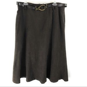 JM Collection Womens Brown Maxi Skirt With Belt 12